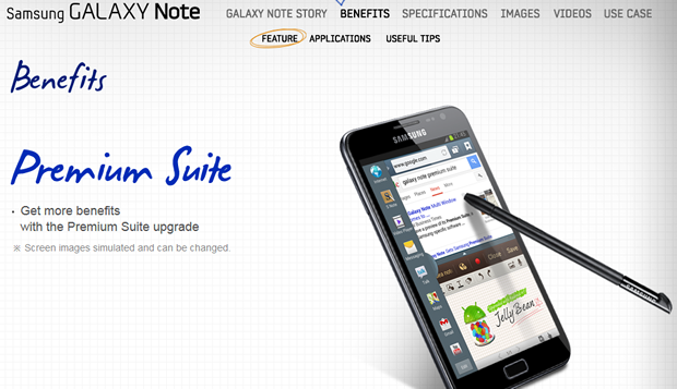 Samsung Galaxy Note getting Android 4 1 Premium Suite