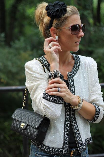 Woman Shops World Dog Leash, Beaded Jacket c/o CiGi Guz, ZoeLynn& Co. Headband, Chanel Purse, Vintage Jewelry, Gap Ribbed Tank, Jessica Simpson Denim Shorts
