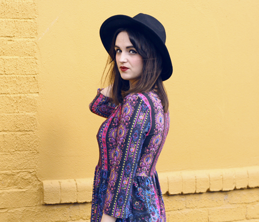woollen hat, wide brim hat, hunter, floral dress, bright printed dress, hippy, hippie, antler necklace,