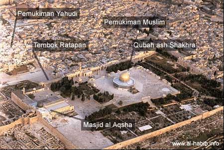 Masjid al-Aqsa (bukan tempat Isra Mi'raj) satu kompleks dengan Masjid Qubbat as-Sakhrah