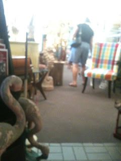 View of the narrow aisles at Janet's Antiques.