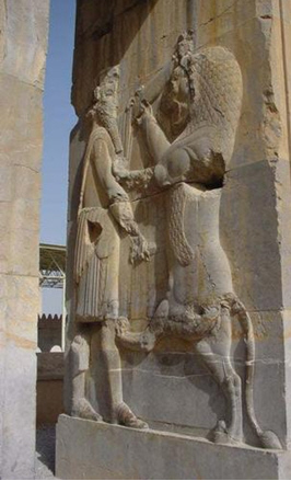 Here Is King Fighting Lion On A Bas Relif In Persepolis, Then Look Below  For Persian Rug Depictions.