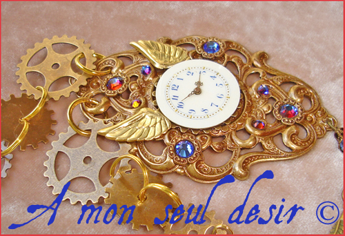 collier steampunk cadran de montre mécanique rouages gears time dial clock face steampunk necklace