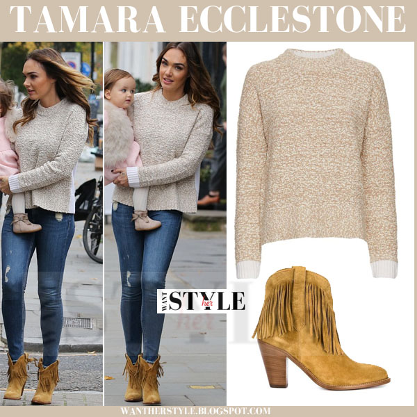 Tamara Ecclestone in beige knit sweater and camel fringed suede ...