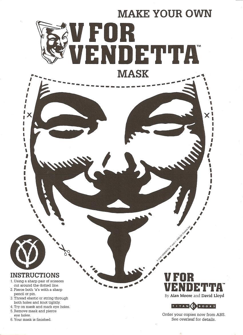 V For Vendetta Mask Stencil You are anonymous: Mak...