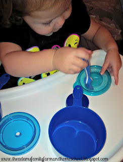 Teaching the color blue with kitchen items