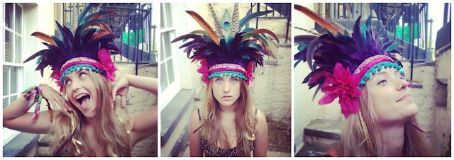 Feather headdress, festival fashion, feather head-piece