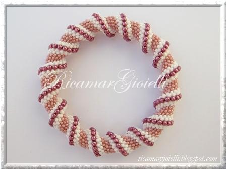 bracciale spirale Cellini in rosa, bianco ed ametista
