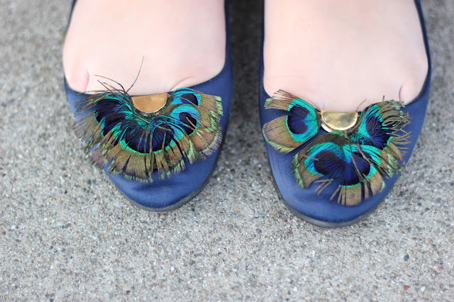 Peacock Feather Satin Flats