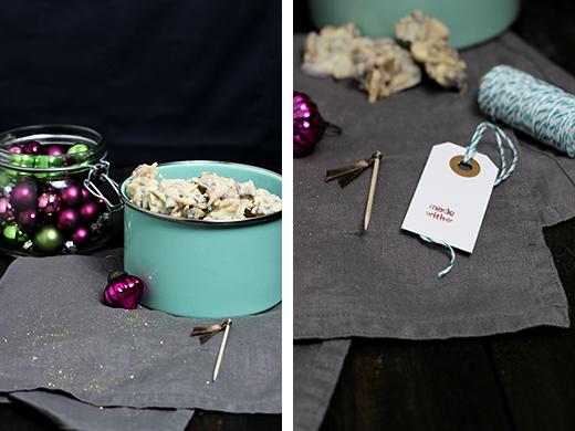 Mandelknusper Schokocrossies Weiße Schokolade Mandeln Cranberries Zimt Rezept Geschenke aus der Küche Holunderweg18 Foodblog