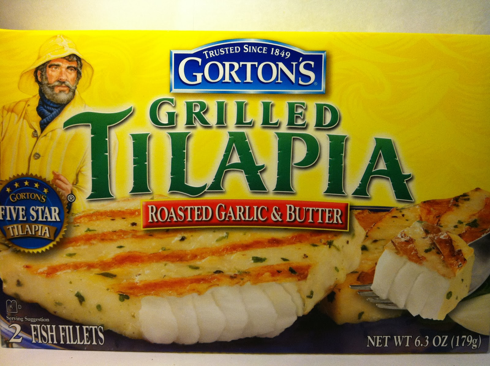 Crazy food dude review gorton 39 s grilled tilapia roasted for Gorton s frozen fish