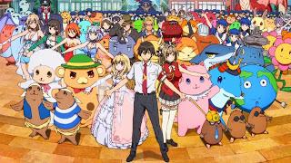 Screen z Amagi Brilliant Park przedstawiający wszystkich bohaterów anime