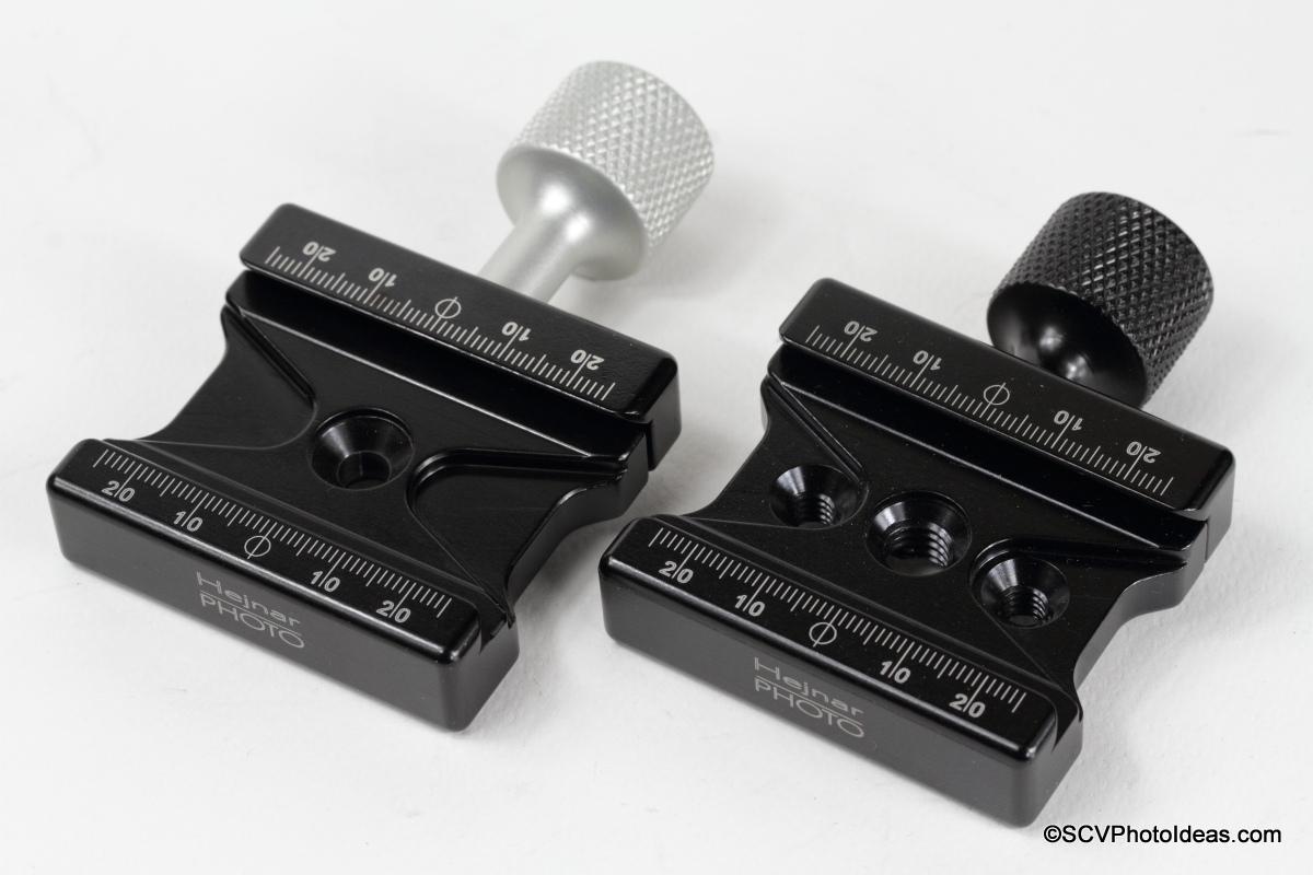 Hejnar Photo F62M vs F62ab QR clamps comparison top