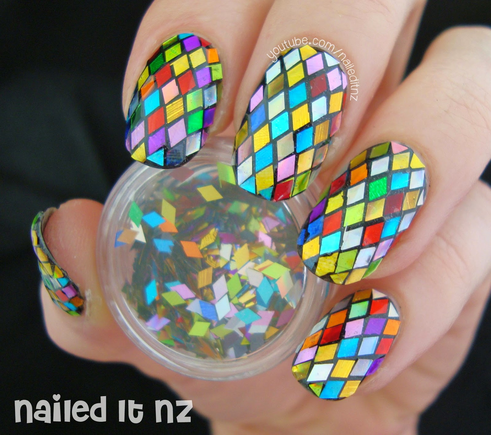 Hand-Placed Glitter - Stained Glass Window Nail Art