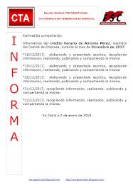 C.T.A. INFORMA CRÉDITO HORARIO ANTONIO PÉREZ, DICIEMBRE 2017