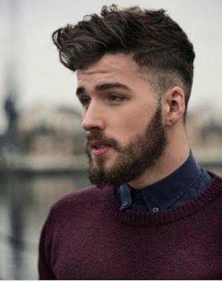 model gaya potongan rambut side shaved pria berjanggut