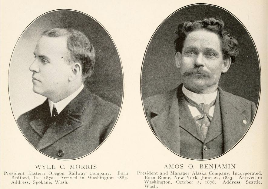 Pictures of Wyle C. Morris, Eastern Oregon Railway Company and Amos O. Benjamin, Alaska Company, Inc.