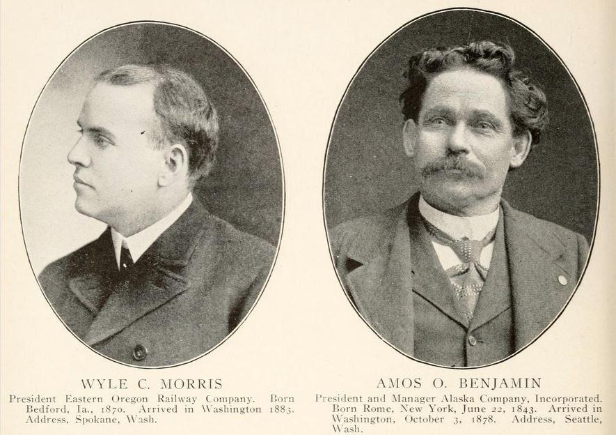 Pictures of Wyle C. Morris, Eastern Oregon Railway Company and Amos O. Benjamin, Alaska Company, Inc.