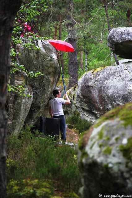 Grimpe à Bleau par temps pluvieux, Roche aux Oiseaux, (C) 2015 Greg Clouzeau