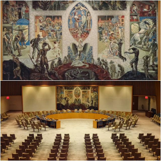 Security Council Chamber in Conference Building at United Nations Headquarter Building in New York, USA
