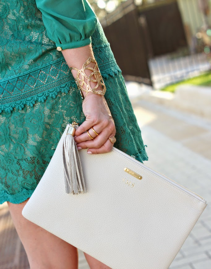 green lace dress_kendra scott cuff_gigi new york clutch