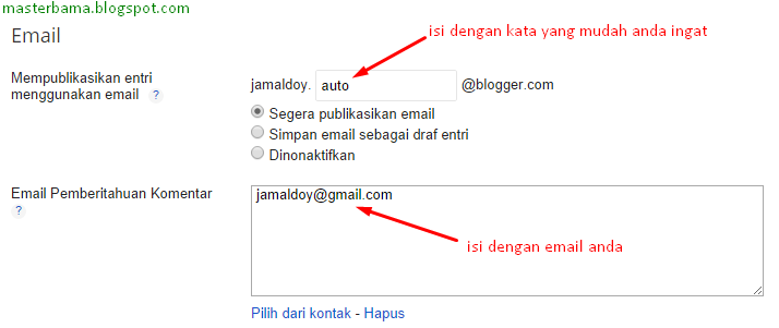 Setting Email di Blogger