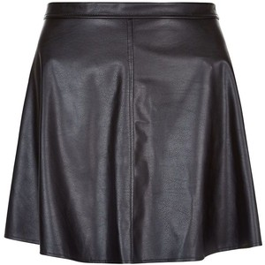 Newlook black leather-look skater skirt