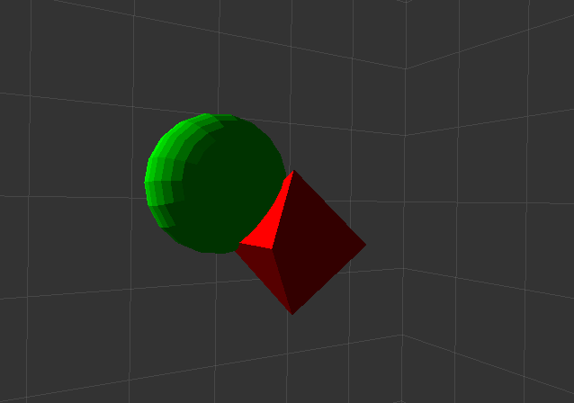 A representation of a sound object (red) passing through a loudspeaker catchment area (green)