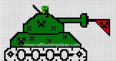 Minecraft Pixel Art Templates Creeper Tank
