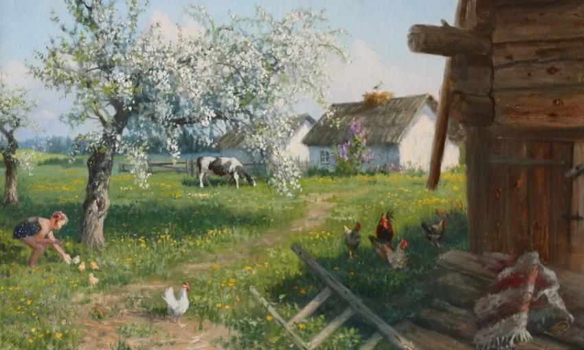 Cuadros modernos pinturas y dibujos paisajes con casas del campo y gallinas costumbrismo ruso - Casas para gallinas ...