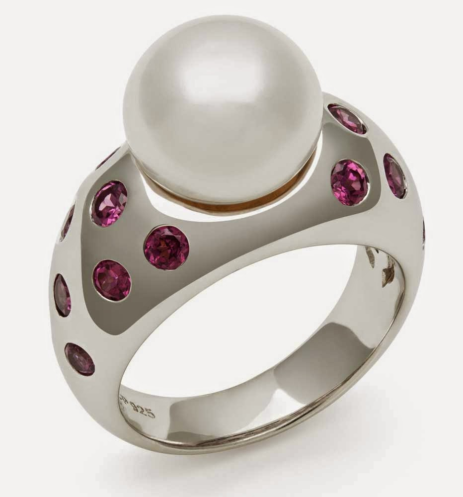 Pearl Wedding Rings with Purple Diamond Design pictures hd