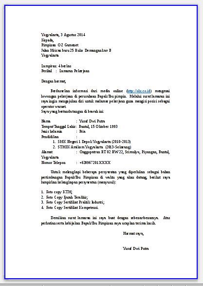 Contoh dan Cara Membuat Surat Lamaran Kerja