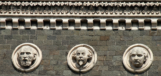 three carved portraits, Oriental Buildings, Mumbai