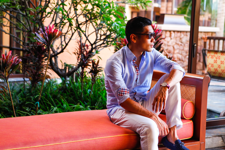 Levitate Style - Anchor 4th of July | Sharp Casual Hawaii Summer Style JJ Threads Custom Linen Shirt, Uniqlo Jeans, Daniel Wellington Watch