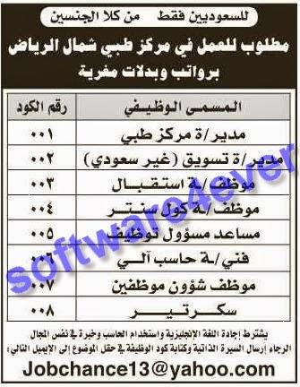 وظائف جريدة الرياض 1/10/2013, وظائف خالية السعودية 25/11/1434, 25 ذي القعدة 1434