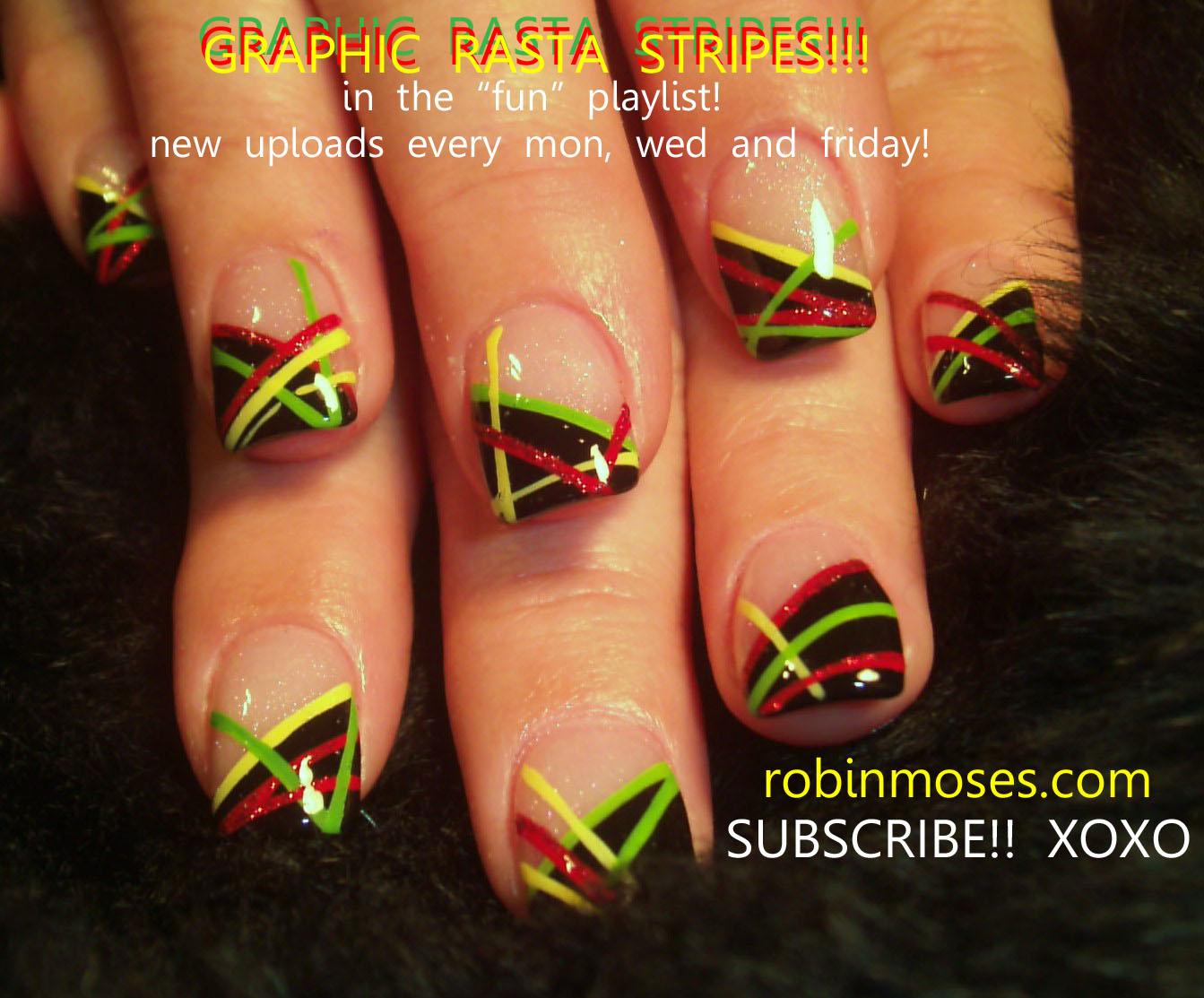 EASY RASTA NAILS: robin moses reggae f… - Nail Art Design: Tribal Nails, Black And Gray Nails, Rasta Nails