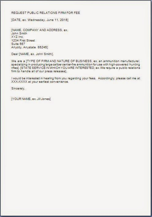 Letter Format Asking For Service Fees Quotation