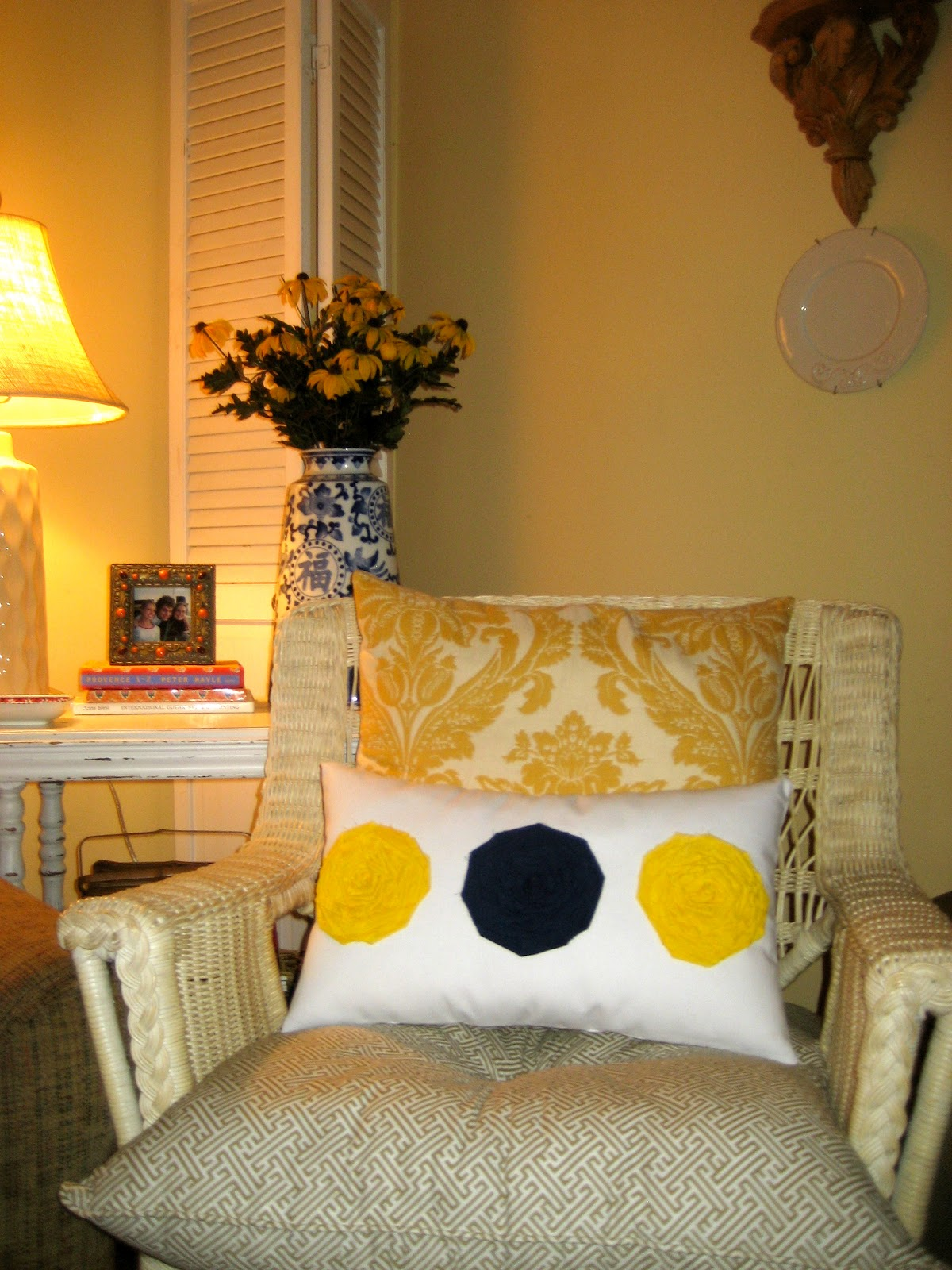 Graceadkinsdesigns Yellow Fabric Flowers With Navy Blue Center