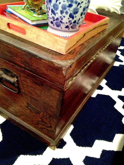 This coffee table used to be an old tool chest!