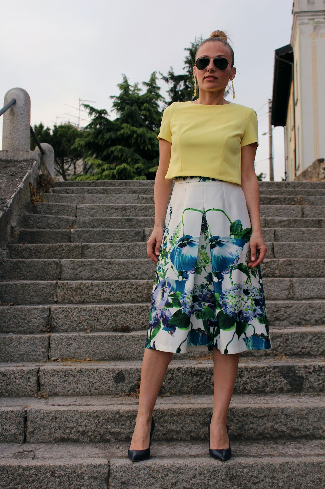 Eniwhere Fashion - Be Secrets floral midi skirt - Brescia