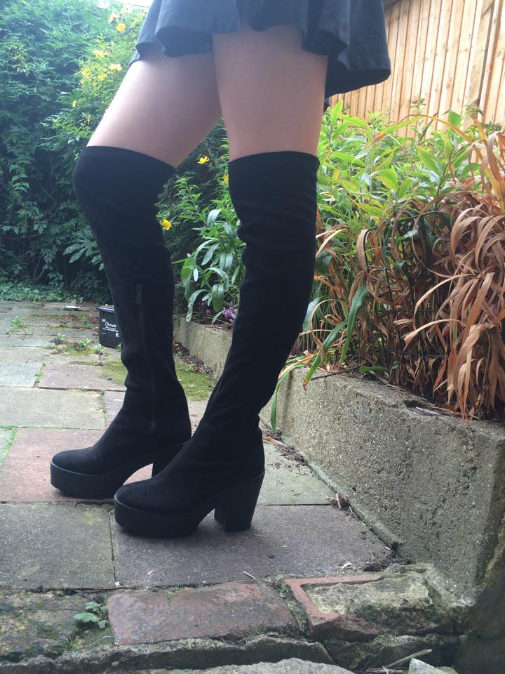 Public Desire over the knee thigh high suede boots, fashion blogger