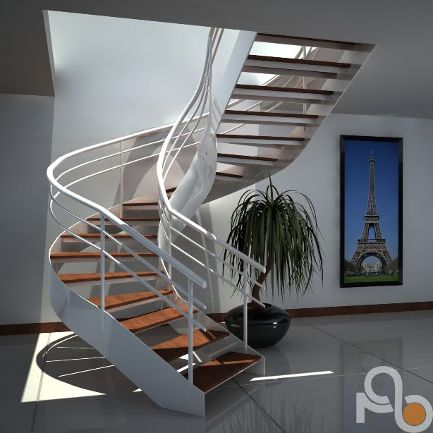 Amo proyecto digital render industrial for Escaleras 3d max