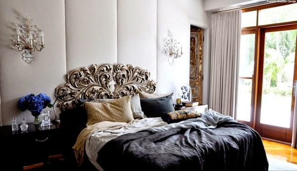 dormitorio pared tapizada tela y apliques antiguos patricia stewart