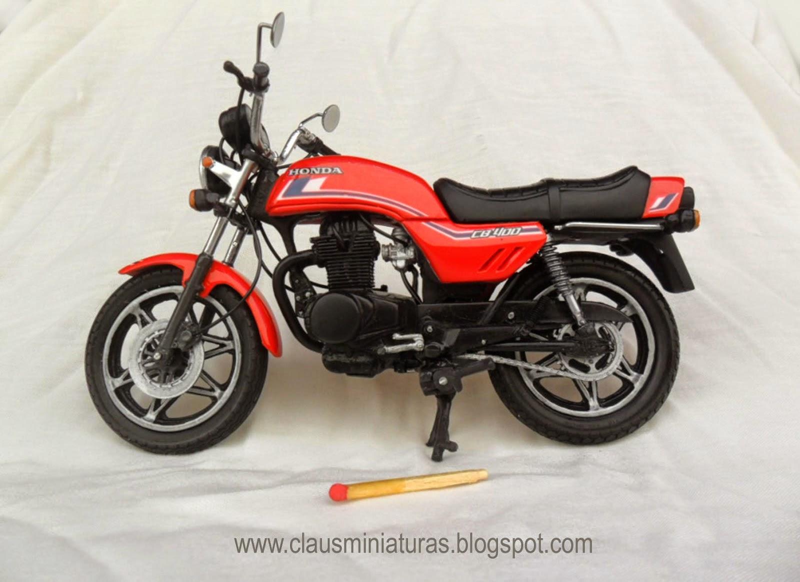 Miniatura+CB+400+1983+vermelha+motor+preto+c - NOS MÍNIMOS DETALHES!