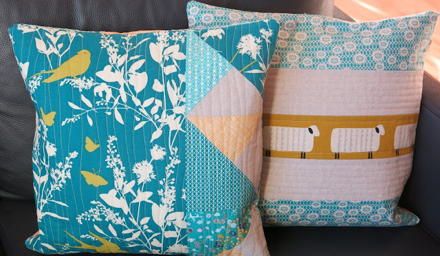 Teal and mustard yellow quilted cushions - Back side