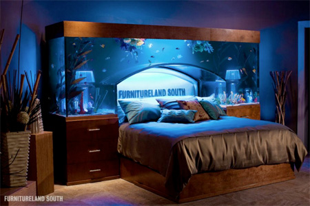 Akwarium w cianie for Fish tank bedroom ideas