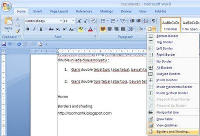 cara membuat garis horizontal tebal tipis word 2007