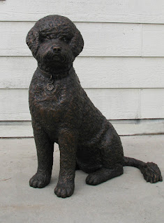 Portuguese water dog bronze portrait statue by Lena Toritch
