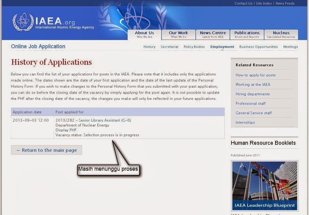 Melamar Sebagai Senior Library Assistant  di International Atomic Energy Agency (IAEA)