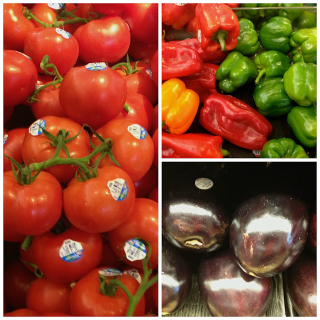 tomatoe, pepper, eggplant collage